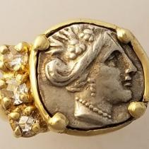 Histiaia, Ancient coin, 14kt Gold Ring