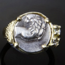 Ancient Coin, Lion, 14kt Gold Ring with Diamonds