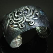 Sterling Silver Octopus Mycenaean Design Cuff Bracelet