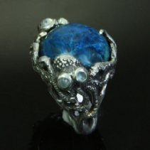 Shattuckite in Sterling Silver Octopus Ring