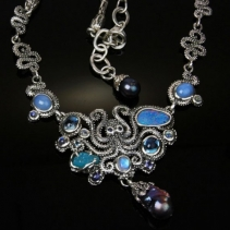Sterling Silver Octopus Necklace with Opal, Blue Topaz and Grey Freshwater Pearl