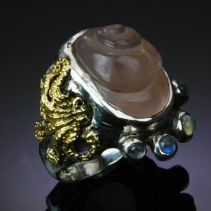 Carved Rose Quartz Sterling Silver/14kt Gold Ring