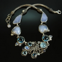 Octopus with Blue Stones Sterlng Silver Necklace