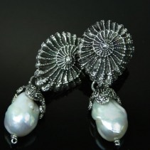 Sterling Silver Ammonite and Octopus Pearl Earrings