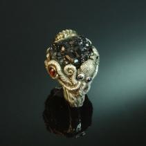 Androdite Garnet, Sterling Silver Octopus Ring