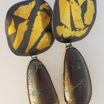 Keum Boo Earring Tops with Yowah Boulder Opal Drops