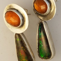 Spessartite Garnet Sterling Silver Earring Tops with Ammolite SS Drops