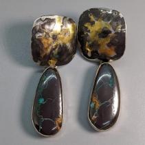 Keum Boo Earring Tops with Yowah Opal Drops