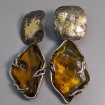 Keum Boo Earring Tops with Mexican Amber Sterling Silver Drops