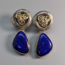 Sterling Silver and 14kt Gold Tops with Lapis Sterling Silver Drops
