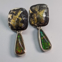 Keum Boo Earring Tops with Ammolite Sterling Silver Drops