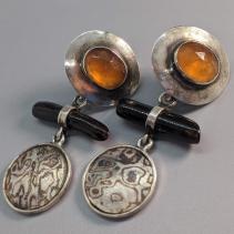 Rose Cut Spessartite Garnet SS Earring Tops with Mokume Gane and Black Coral Drops