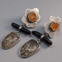 Spessartite Garnet Crystal Sterling Silver Earrings