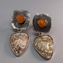 Spessartite Garnet Crystal Sterling Silver Tops with Mokume Gane Drops