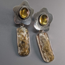Citrine Sterling Silver Tops with Mokume Gane Drops