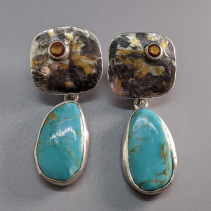 Keum Boo Earring Tops with Turquoise Drops