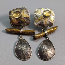 Keum Boo Citrine Tops with Mokume Gane and Gold Coral Drops