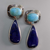 Turquoise Sterling Silver Tops with Lapis Sterling Silver Drops
