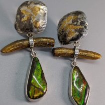 Keum Boo Tops with Ammolite and Gold Coral Sterling Silver Drops