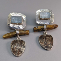 Aqua Crystal Sterling Silver Tops with Mokume Gane and Gold Coral Drops