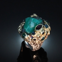 Emerald Crystal Cluster, SS/14kt Ring