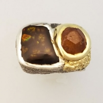 Fire Agate and Garnet Crystal SS/14kt Ring