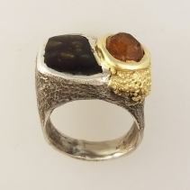 Fire Agate and Garnet Crystal SS/14kt Ring, Side View