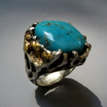 Turquoise, SS ring with Gold Nuggets