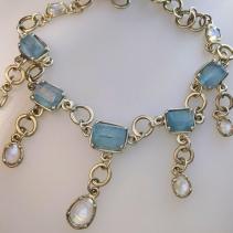Aquamarine Crystal and Rainbow moonstone Necklace