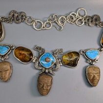 Teotihuacan Heads, Mexican Amber, Turquoise and Opal Sterling Silver Necklace