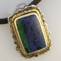 Rainbow Matrix Opal Sterling Silver and 14kt Gold Pendant