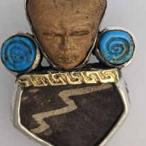Teotihuacan Head, Pottery Shard, SS/14kt Pendant