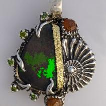 Andamooka Opal, SS/14kt Gold Pendant