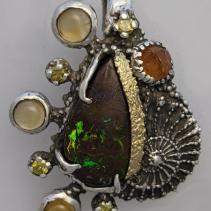 Yowah Opal, SS/14kt Gold Pendant