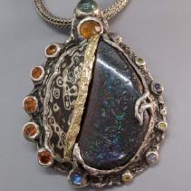 Yowah Opal, Mokume Gane Sterling Silver and 14kt Gold Pendant