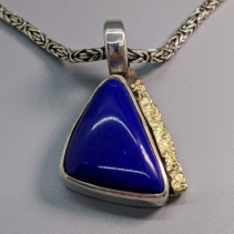 Lapis Sterling Silver and 14kt Gold Pendant