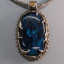 Shattuckite Sterling Silver Pendant with Spessartite Garnet Crystal
