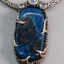 Shattuckite Sterling Silver Pendant with Rainbow Moonstones