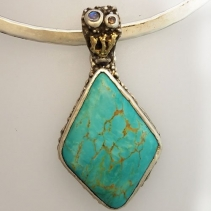 Turquoise SS/14kt Gold Pendant