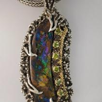 Fine Yowah Opal, SS/14kt Gold Pendant