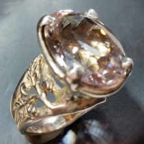 Kunzite in Platinum Sterling Silver Ring