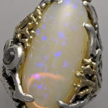 Brazilian Opal, SS/14kt Ring