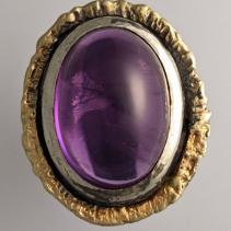 Amethyst SS/14kt Gold Ring
