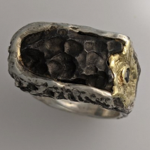 Sikhote Alin Meteorite, SS/14kt Gold Ring