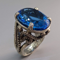 London Blue Topaz Sterling Silver Tentacle Ring
