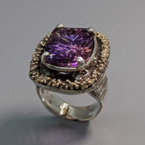 Ametrine in Sterling Silver Ring with 14kt Gold Rim