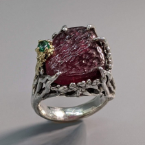 Carved Rough Surface Rubellite Tourmaline, SS/14kt Gold Ring with Emerald