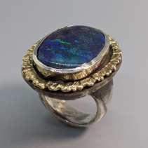 Andamooka Opal in Sterling Silver Ring with 14kt Gold Rim