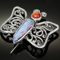 Opal, Sterling Silver Butterfly Pin